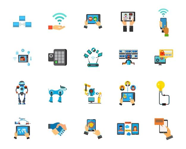 Jeu d'icônes de technologie