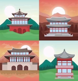 Jeu d'icônes de temples d'asie