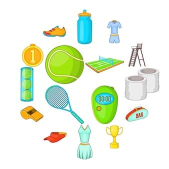 Jeu d'icônes de tennis, style cartoon
