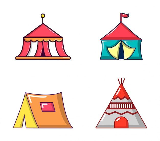 Jeu d'icônes de tente. ensemble de dessin animé d'icônes vectorielles tente isolé