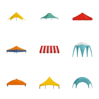 Jeu d'icônes de tente. ensemble plat de 9 icônes vectorielles de tente