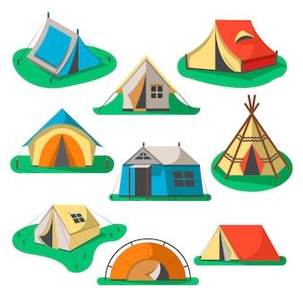 Jeu d'icônes de tente touristique