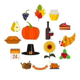 Jeu d'icônes de thanksgiving, style plat