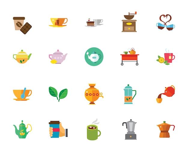 Jeu d'icônes de thé et café