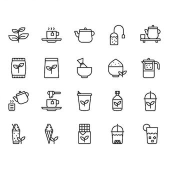 Jeu d'icônes de thé vert