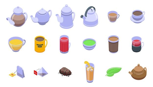Jeu d'icônes de thé.