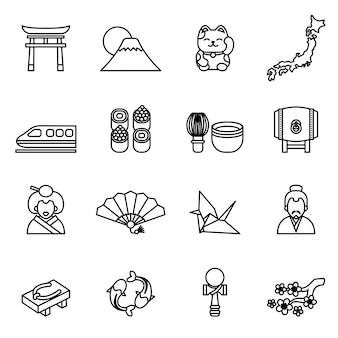 Jeu d'icônes de thème japonais