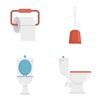Jeu d'icônes de toilette