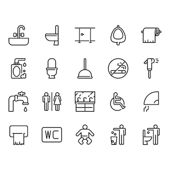 Jeu d'icônes de toilettes.