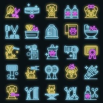 Jeu d'icônes de toiletteur. ensemble de contour d'icônes vectorielles de toiletteur couleur néon sur fond noir