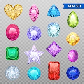 Jeu d'icônes transparentes colorées de pierres précieuses et isolées, pierres précieuses chatoyantes et brillantes