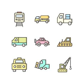 Jeu d'icônes de transport pour un usage personnel et commercial