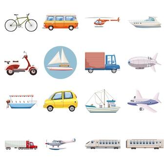 Jeu d'icônes de transport, style cartoon