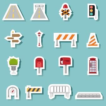 Jeu d'icônes de transport de trafic