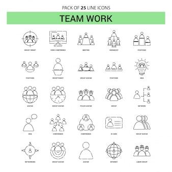 Jeu d'icônes de travail d'équipe - 25 styles de contour en pointillés
