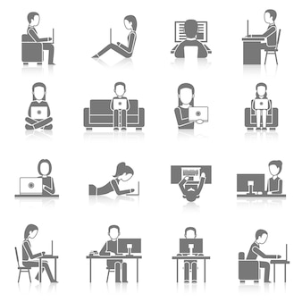 Jeu d'icônes de travail informatique