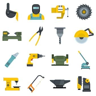 Jeu d'icônes de travail en métal