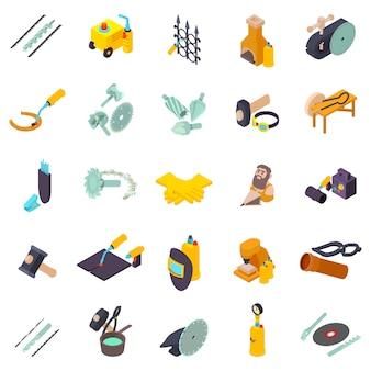Jeu d'icônes de travail des métaux