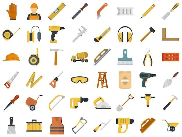 Jeu d'icônes de travailleur de maçonnerie