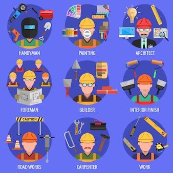 Jeu d'icônes de travailleur