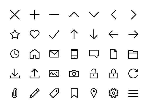 Jeu d'icônes très simple décrit