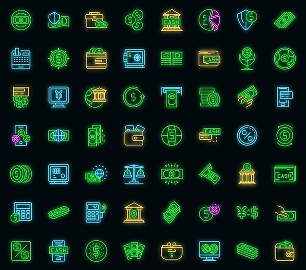 Jeu d'icônes de trésorerie bancaire. ensemble de contour d'icônes vectorielles en espèces bancaires couleur néon sur fond noir