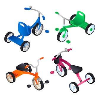 Jeu d'icônes de tricycle. jeu isométrique de tricycle