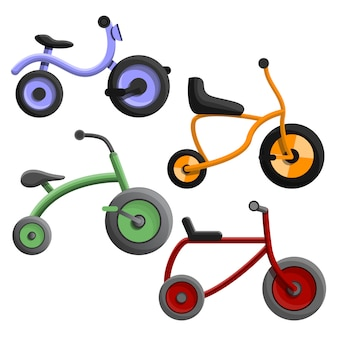 Jeu d'icônes de tricycle, style cartoon