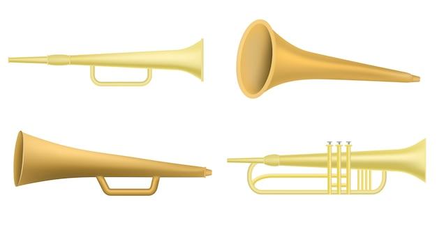 Jeu d'icônes de trompette, style réaliste