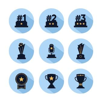 Jeu d'icônes de trophée, récompense pour les champions avec étoile isolée sur cercle bleu