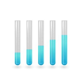 Jeu d'icônes de tube à essai scientifique. tube à essai avec un liquide bleu.