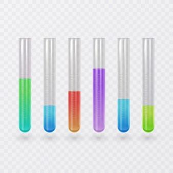 Jeu d'icônes de tube à essai scientifique