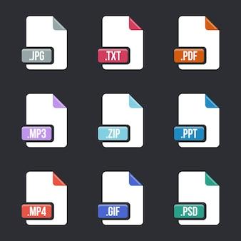 Jeu d'icônes de type de fichier. documentez les formats multimédia.