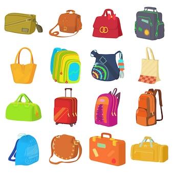 Jeu d'icônes de types de sac