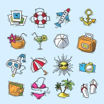 Jeu d'icônes de vacances d'été