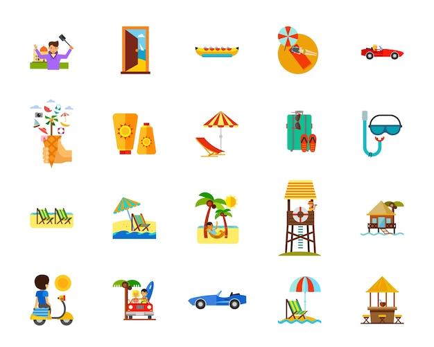 Jeu d'icônes de vacances plage
