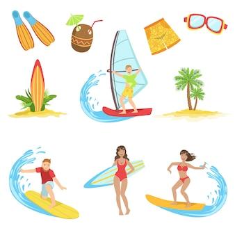 Jeu d'icônes de vacances surf