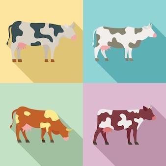 Jeu d'icônes de vache, style plat