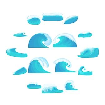 Jeu d'icônes de vagues de la mer, style cartoon