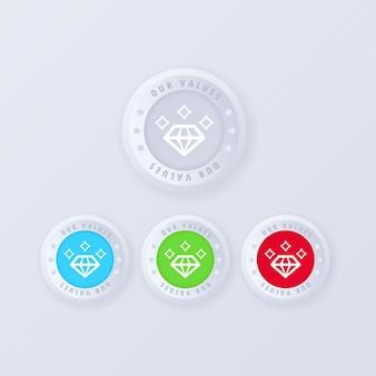 Jeu d'icônes de valeurs. conception de jeu d'icônes web pour de multiples usages