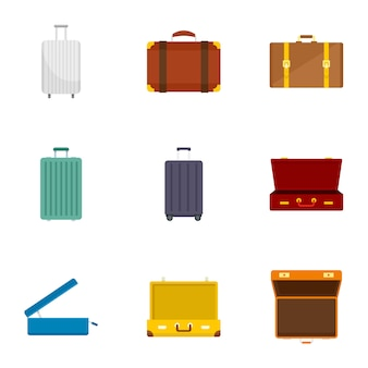 Jeu d'icônes de valise de voyage. ensemble plat de 9 icônes de valise de voyage