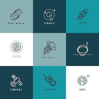 Jeu d'icônes vectorielles d'astronomie fine ligne et logos