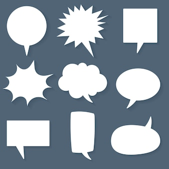 Jeu d'icônes vectorielles bulle discours, design plat blanc