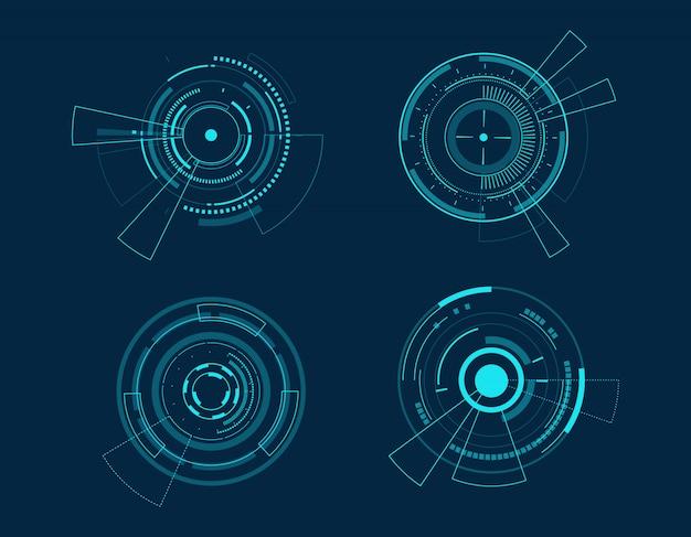 Jeu d'icônes vectorielles design cercle de technologie