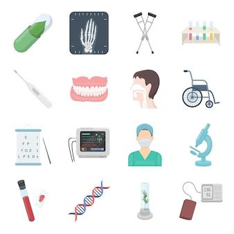 Jeu d'icônes vectorielles dessin animé médical. illustration vectorielle de produits pharmaceutiques et médicaux.
