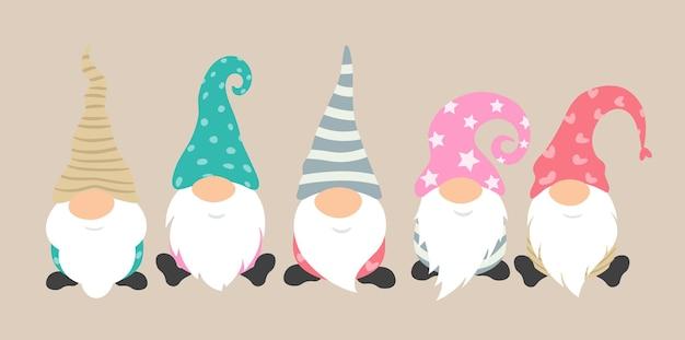 Jeu d'icônes vectorielles de gnomes de dessin animé des personnages mignons et drôles pour la carte de voeux des vacances de noël