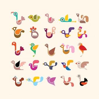 Jeu d'icônes vectorielles oiseau
