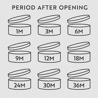 Jeu d'icônes vectorielles pao. période après l'ouverture des symboles. boîte avec bouchon ouvert avec période de péremption en mois.