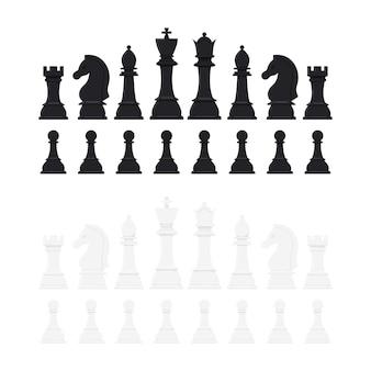 Jeu d'icônes vectorielles de pièces d'échecs isolé sur fond blanc