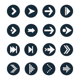 Jeu d'icônes vectorielles à plat de flèches